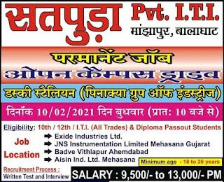 10th / 12th / I.T.I. All Trades &  Diploma Jobs Vacancy Open Campus Placement at Satpura (Pvt) ITI, Balaghat, Madhya Pradesh