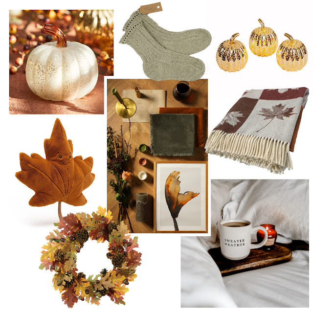 collage of red, orange and leafy halloween fall decor
