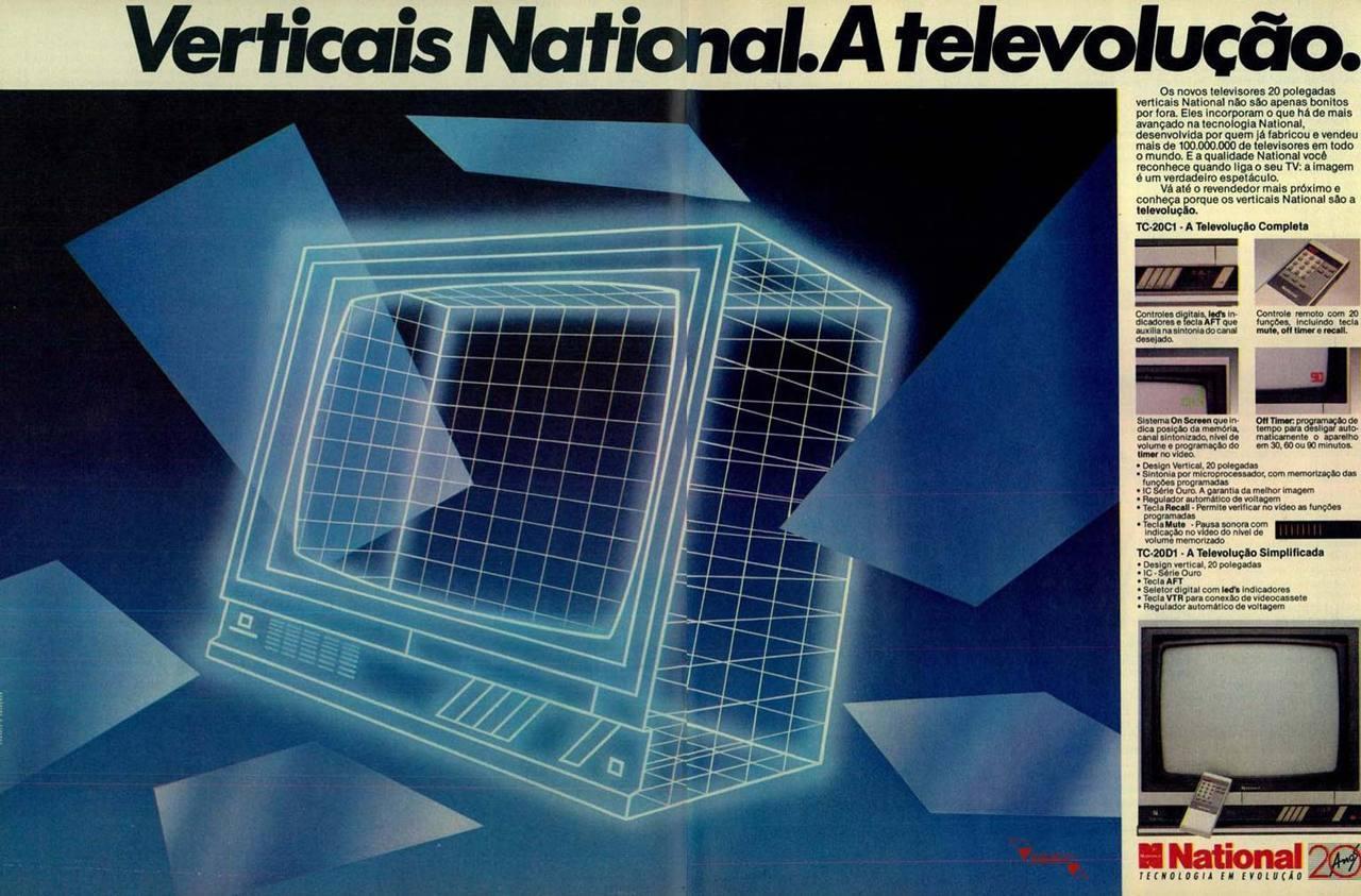 Propaganda antiga da National promovendo sua linha de televisores em 1984