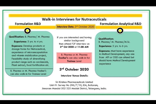 Walk in Interviews Freshers & Experienced - Formulation R & D/ Analytical R&D On 3rd Oct 2020 @ Sri Krishna Pharmaceuticals @ Hyderabad