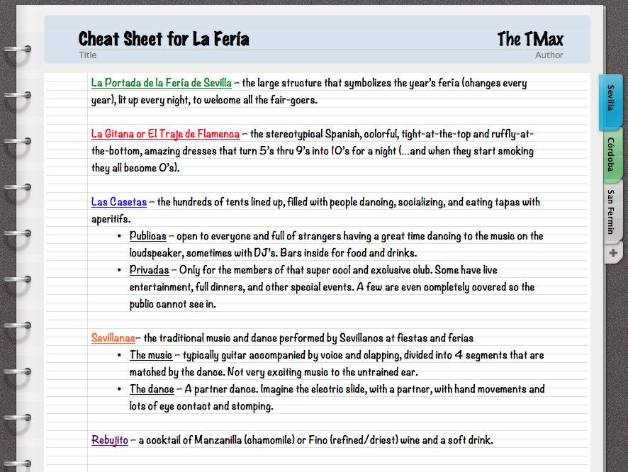 TMax's La Feria cheat sheet 2015