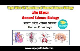मानव शरीर - क्रिया विज्ञान GK Questions Set 13