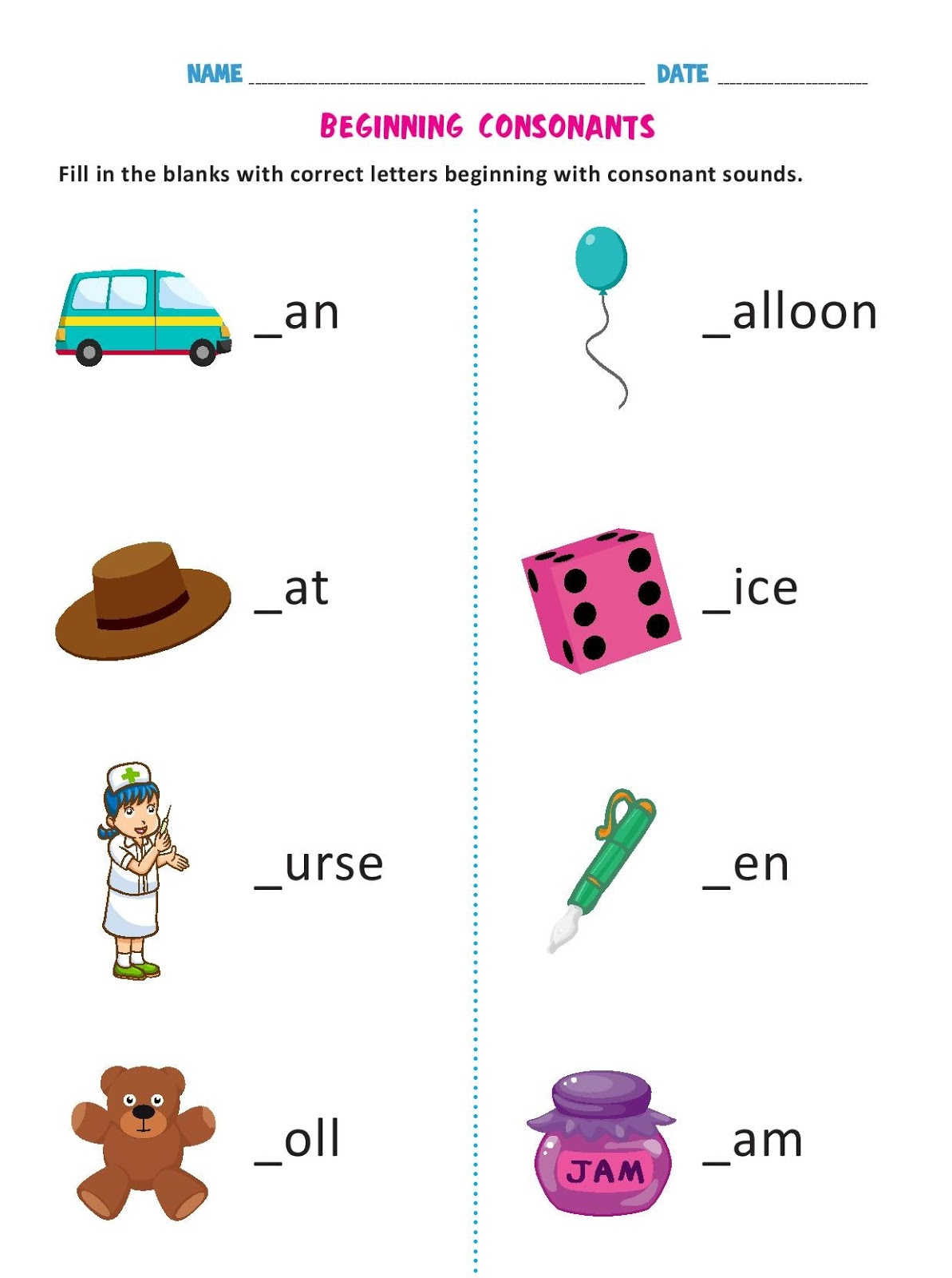 Beginning Consonants Worksheets Ready To Use