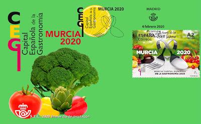 Sobre, PDC, filatelia, matasellos, sello, gastronomía, 2020, capital, Murcia