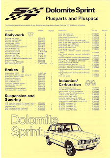 Leyland Special Tuning - Triumph Dolomite Sprint Plusparts and Pluspacs