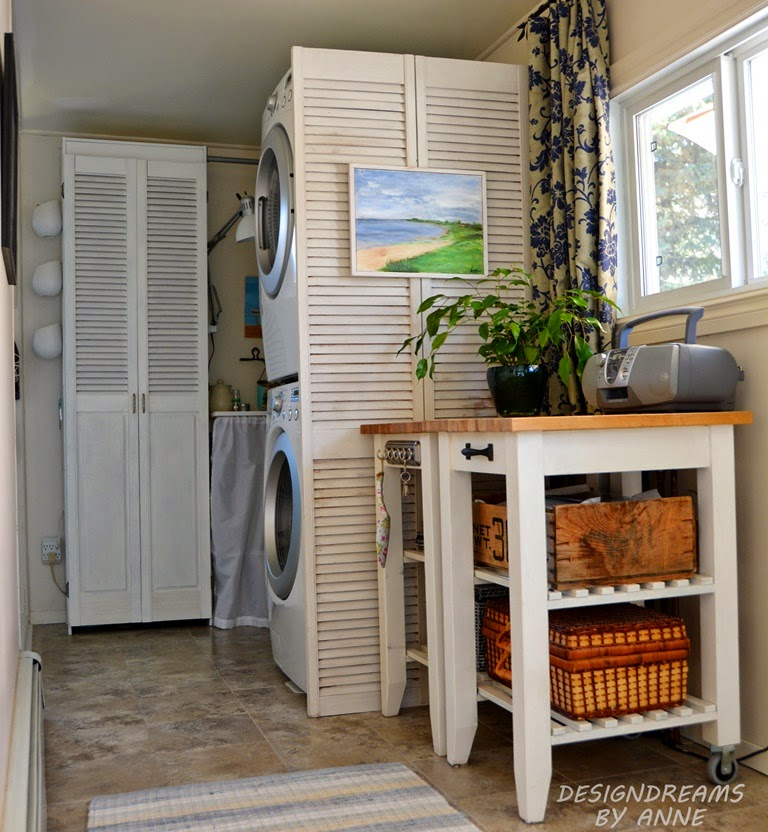 repurpose old shutters - cleaning up with shutter doors - DesignDreamsbyAnne.blogspot.ca