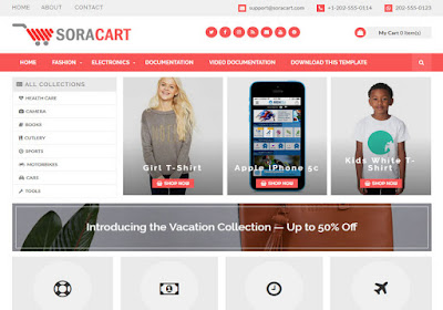 SoraCart Paid Version Shopping Blogger Template Full Premium Template Free Download