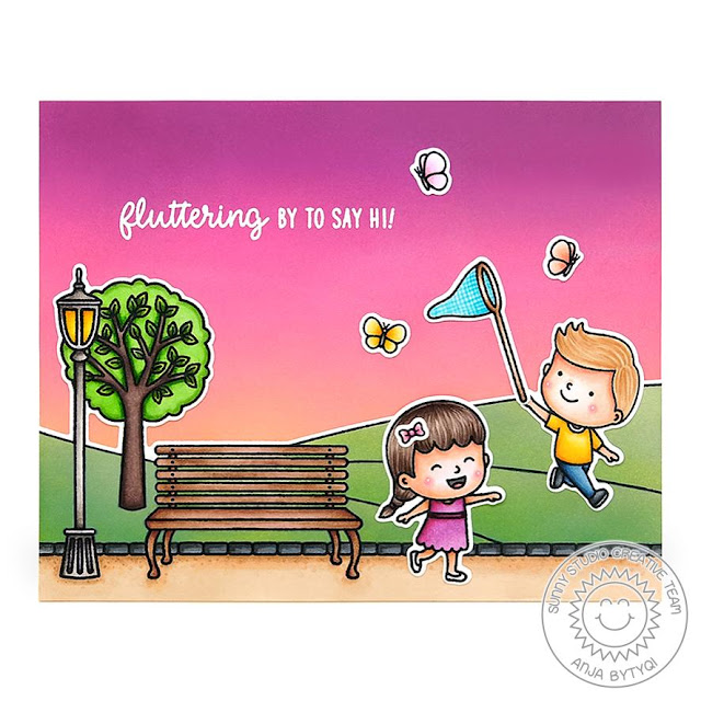 Sunny Studio Stamps: Spring Scenes Spring Showers Friendship Card by Anja Bytyqi