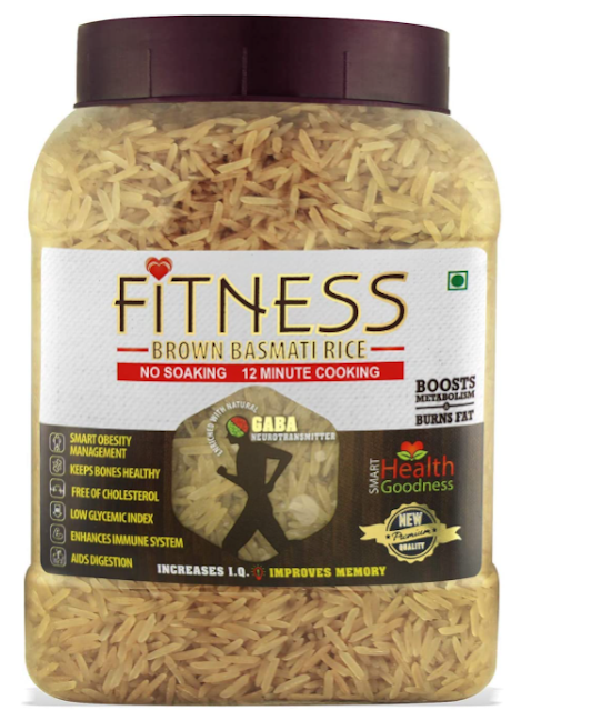 SHRILALMAHAL Fitness Brown Basmati Rice (Weight Loss Special), (4 Kg : 4 x 1 Kg Jars) | Low Glycemic Index | Gluten Free | Immunity Booster-