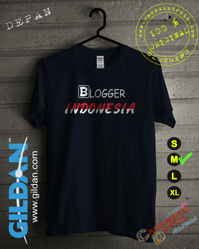 Baju Kaos Blogger Indonesia 2 Warna Biru Dongker
