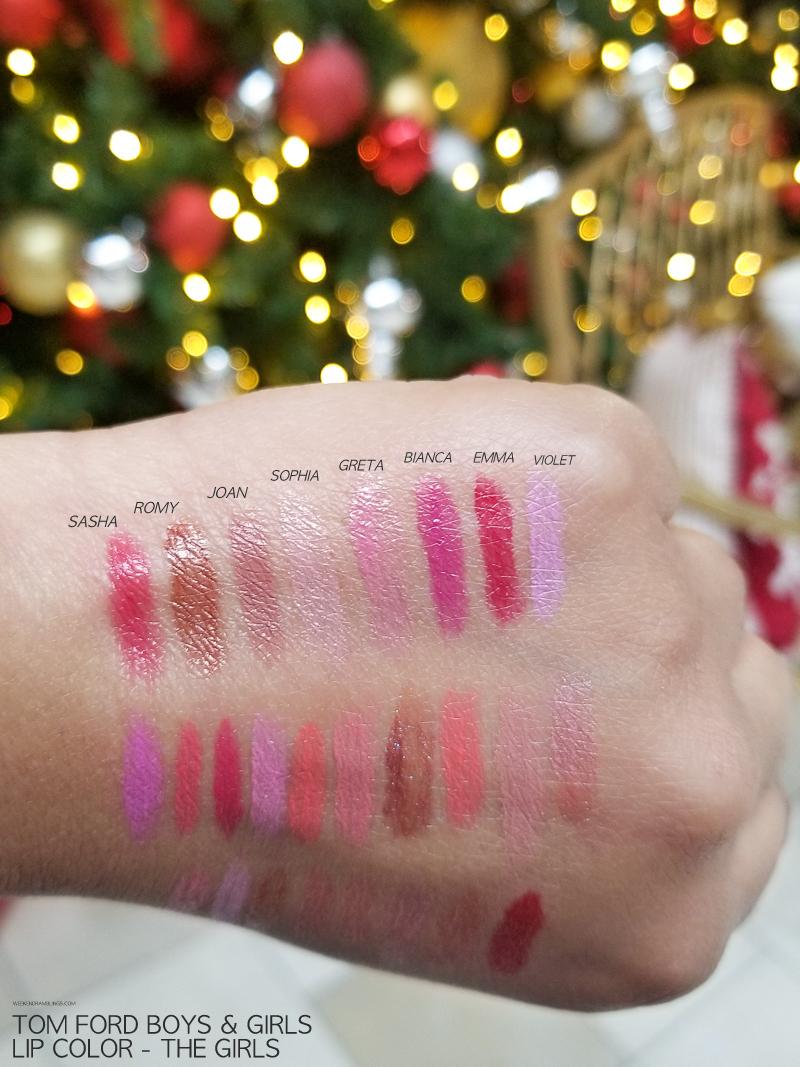 Tom Ford Makeup - Boys and Girls Lipsticks - Swatches - Sasha - Romy - Joan - Sophia - Greta - Bianca - Emma - Violet