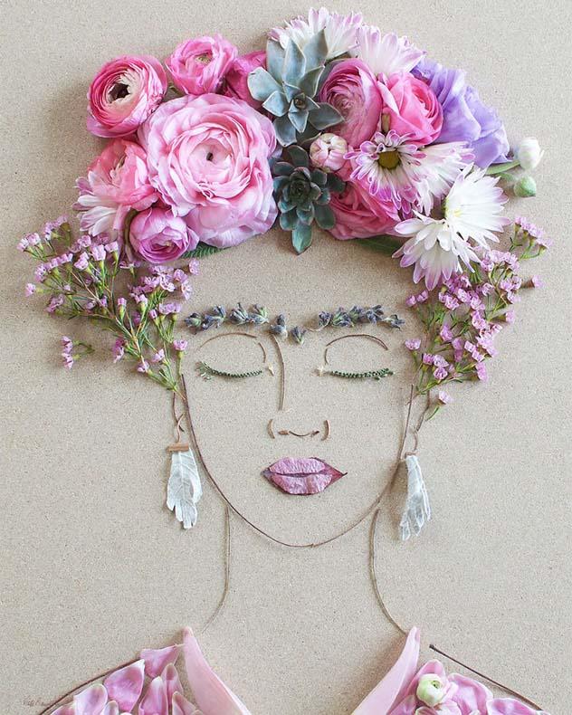 Creativos retratos femeninos compuestos de flores y tallos