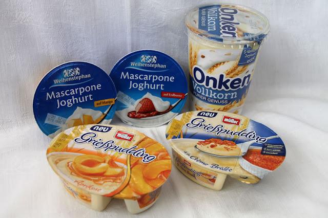 Brandnooz Cool Box Dezember 2016 - Herzhafter Inhalt: Weihenstephan Mascarpone Joghurt, Onken Vollkorn Naturjoghurt, Müller Grießpudding