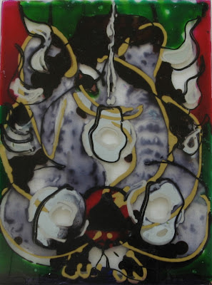 Glass painting of Ganesha, the remover of obstacles