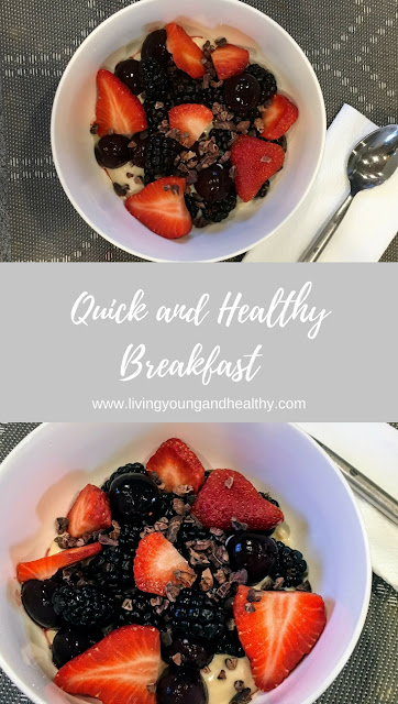Quick and Healthy Breakfast with Greek Yogurt, Fresh Fruit and Cacao Nibs.  Decadent and delicious, full of healthy nutrients and protein. | www.livingyoungandhealthy.com