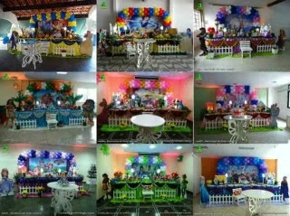 Decoração festa feminina - Mesa clássica luxo forrada com tecido
