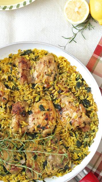 Garlic Rosemary Chicken with Lemony Orzo