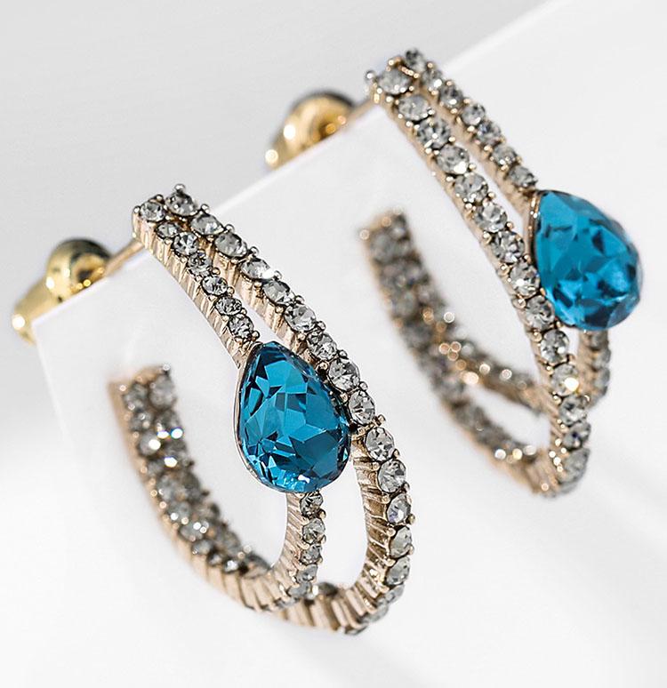 古典宮廷風深邃藍水晶耳環