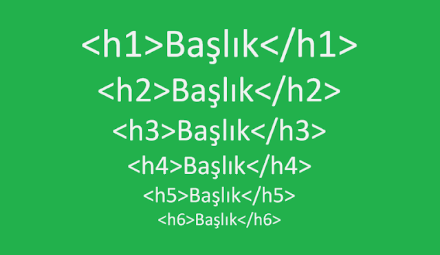 H etiketleri H1, H2, H3, H4, H5, H6