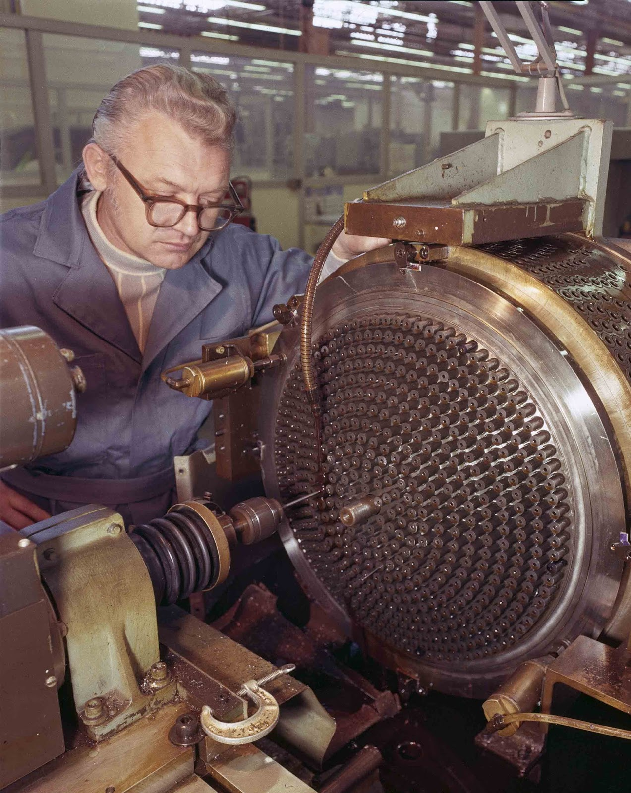 Machining a Space Shuttle Main Engine injector, 1977.