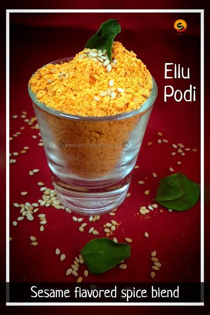 An aromatic and flavorful spice mix using til /sesame . Traditional ellu podi recipe which is vegan and gluten free .,nuvvula karram, ellu podi, yellu pudi, til masala, sesame seeds powder , sesame spice mix , how to make ellu saadham, how to make ellogre