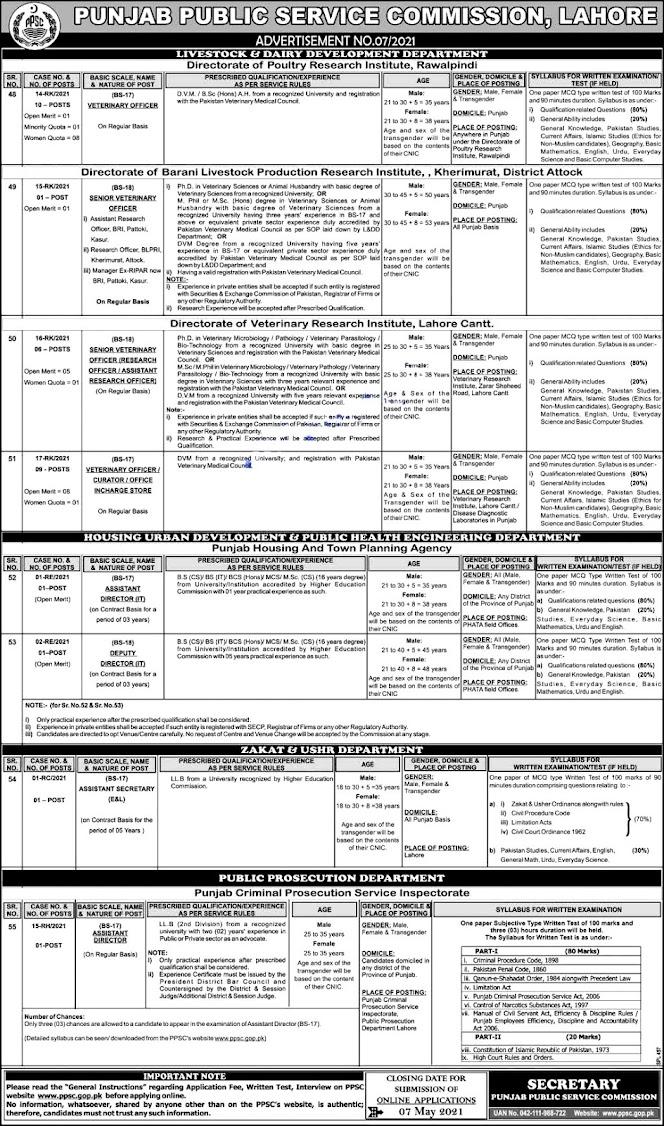 Punjab Public Service Commission PPSC Latest Jobs April 2021  Advertisement # 7/2021-Online Apply
