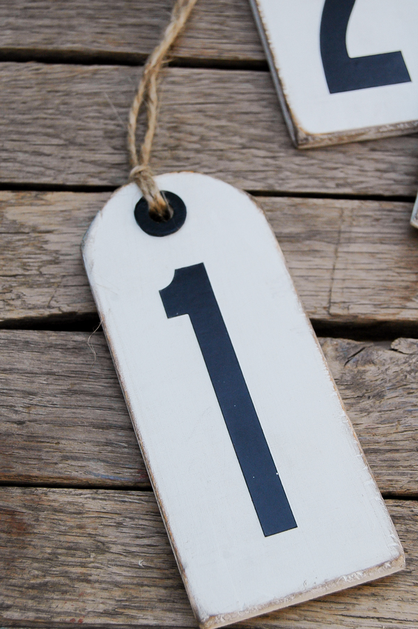 Plywood scraps turned distressed number tags.