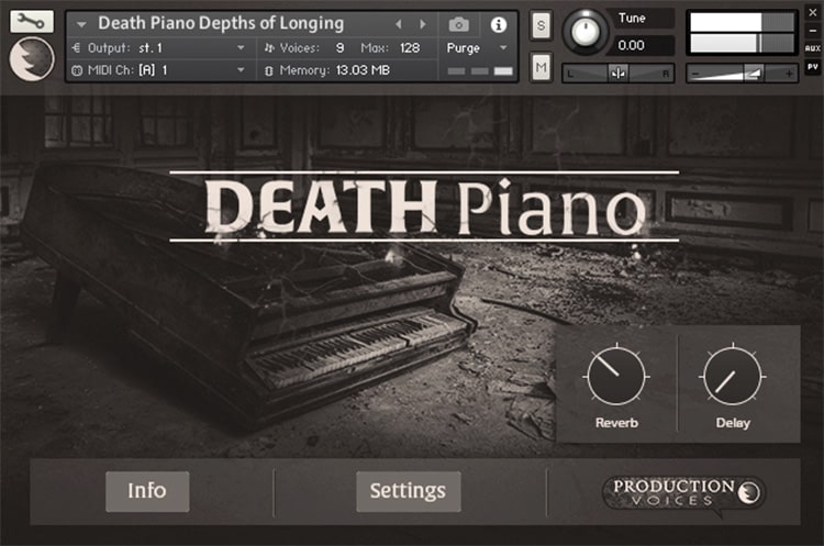 Interface da Library Production Voices - Death Piano (KONTAKT)
