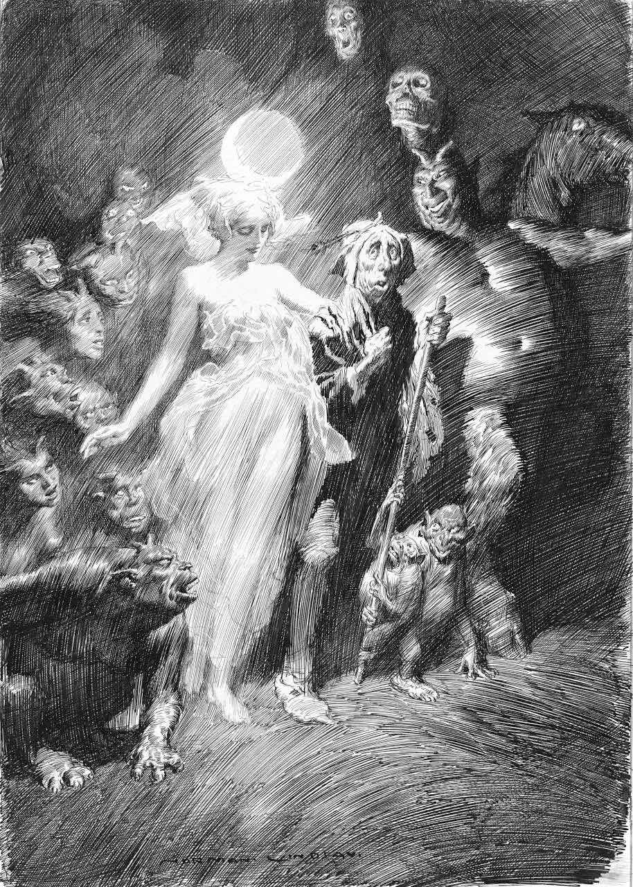 a Norman Lindsay illustration of demons