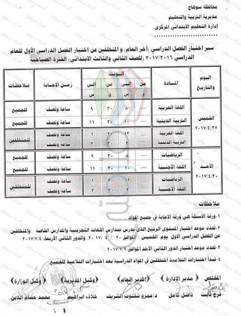 جدول امتحانات الصف الثاني الابتدائي 2016 الترم الثاني محافظة سوهاج