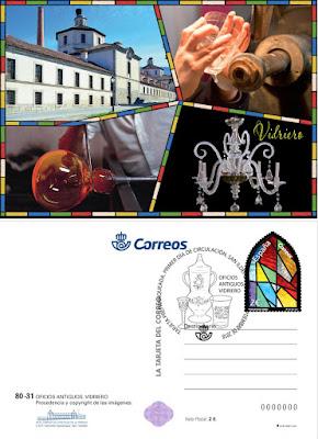 Tarjeta prefranqueada dedicada a oficios antiguos: vidriero