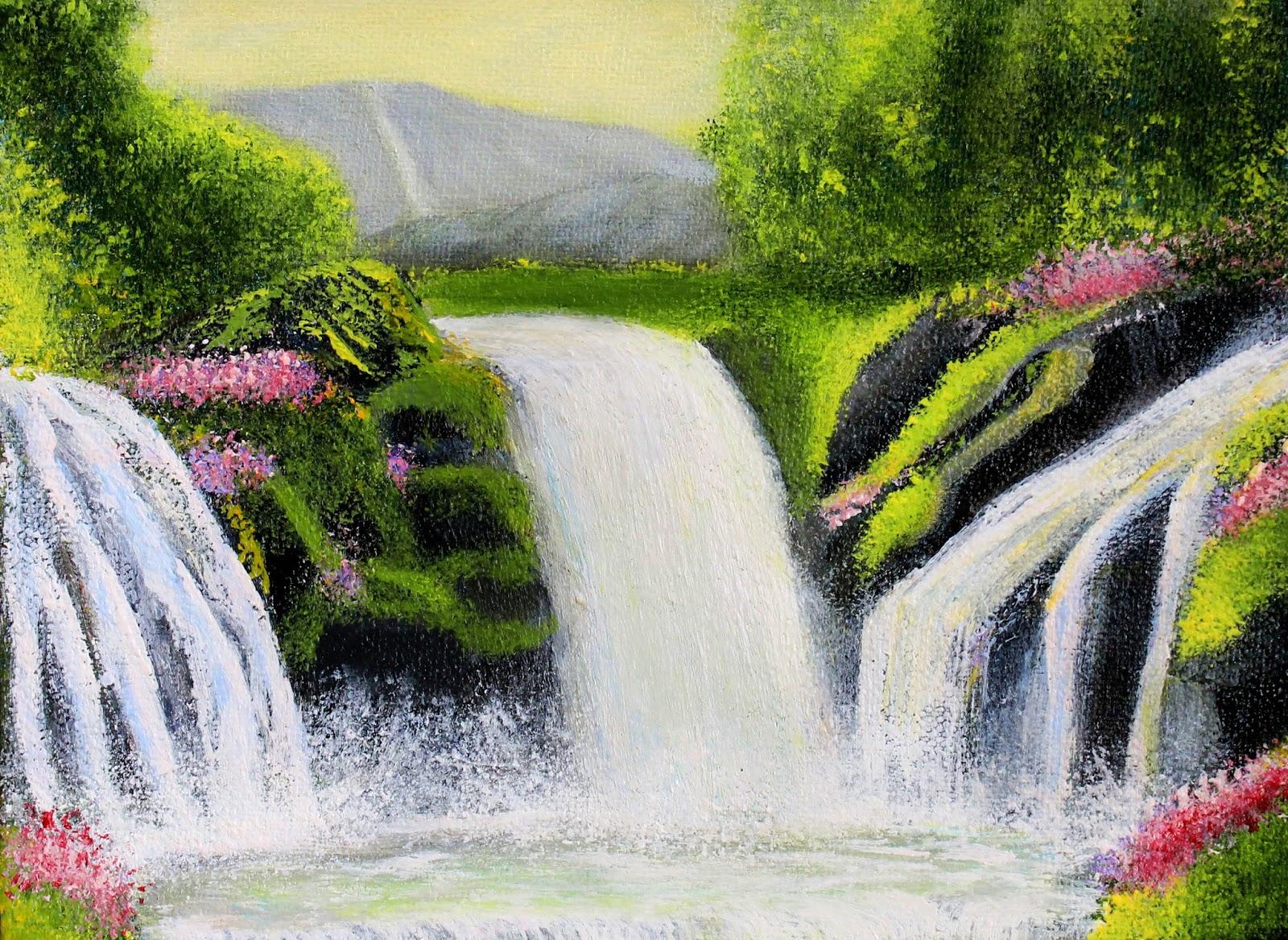 waterfall - painting - by - manju - raj