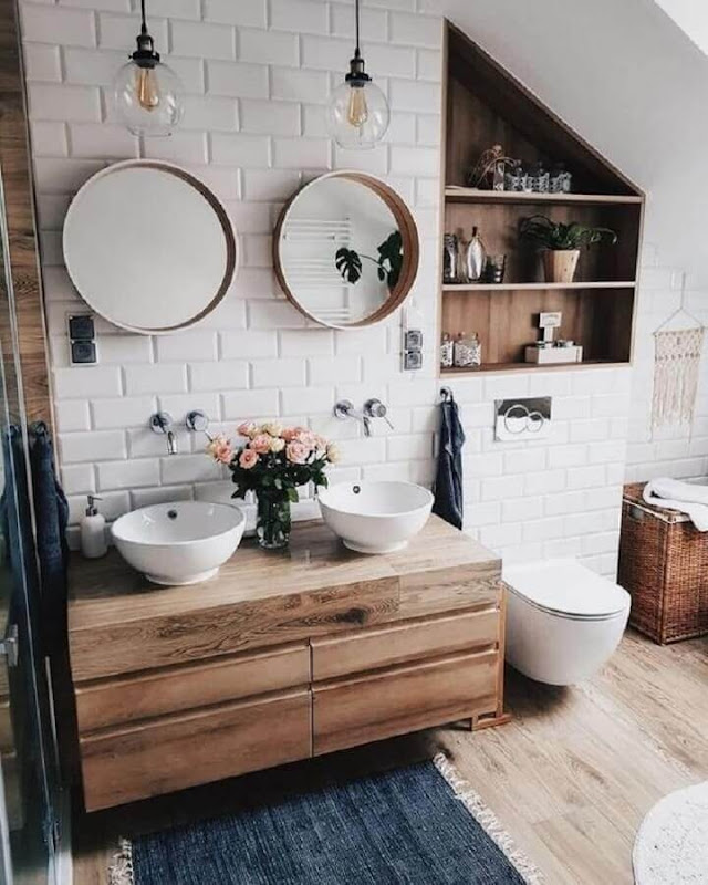 Rustic style decor with mirrors for round bathroom
