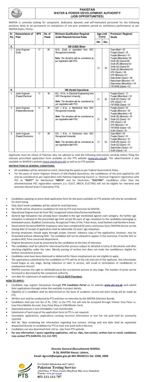 Jobs in Wapda, Wapda latest Jobs 2019 , Wapda 100+ Latest Jobs 2019 December