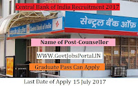 Central Bank of India Recruitment 2017– Counsellor