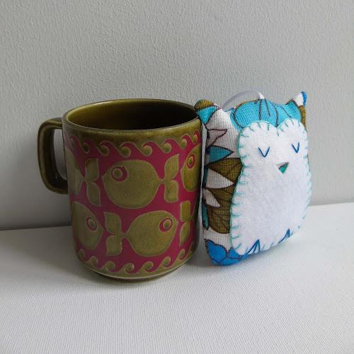 handmade vintage fabric sleepy owl lavender sachet