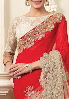 Half N Half Embroidered Georgette and Net Saree in Red and Beige front Design