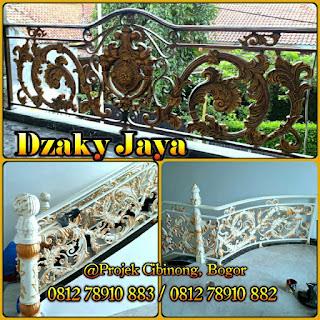 Projek railing tangga dan balkon besi tempa mewah Bogor