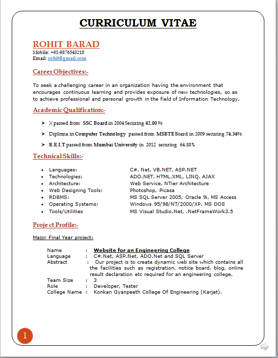 Resume Objectives 46 Free Sample Example Format Curriculum Vitae Format For Freshers Download