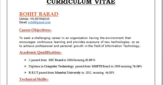 Asp Net Resume For Experienced Professional Curriculum Vitae Format