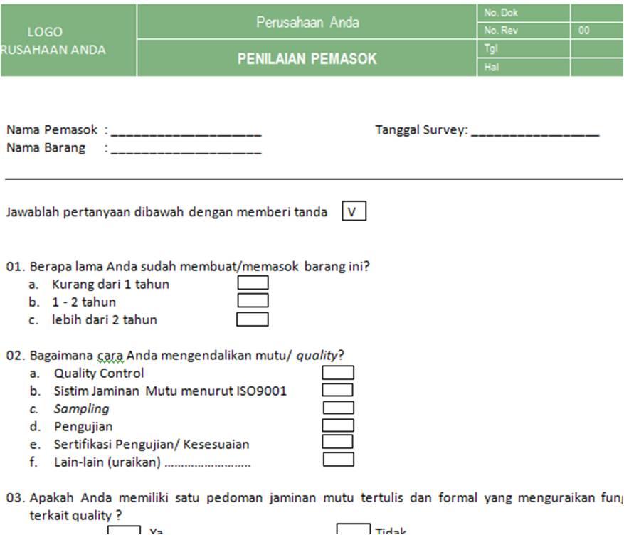Pt Sistem Manajemen Utama Paket Dokumen Improvement Evaluasi