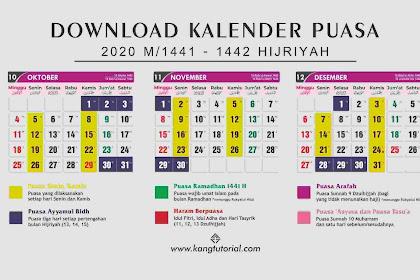 Download Kalender Jadwal Puasa Sunnah 2020 PDF, CDR, PSD dan JPG Full HD