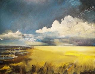 ayoe l l ploger, himmel, skyer, vadehav,kunst, galleri, marsk, noget til væggen, art, glade farver, kunst, maleri