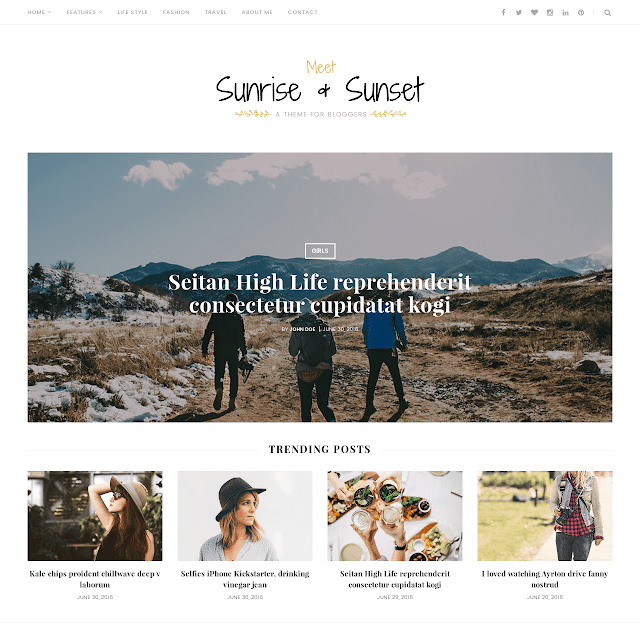 Sunrise & Sunset blogger template