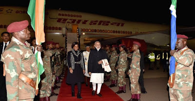 Modi arrives in South Africa