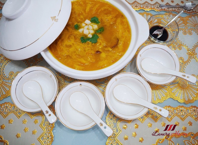 braised pumpkin soup with fish maw hokkaido scallops