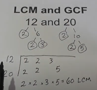 lcm 12 and 20