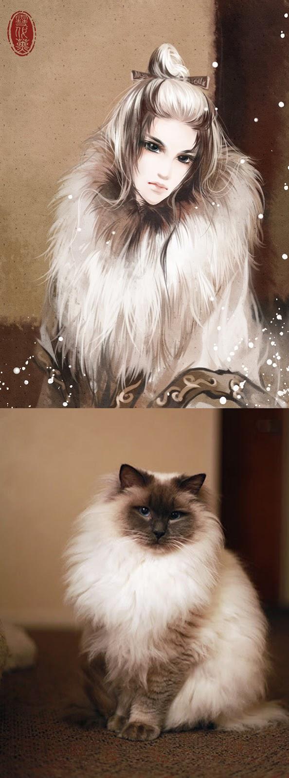 Kot narysowany jako kobieta z anime 14
