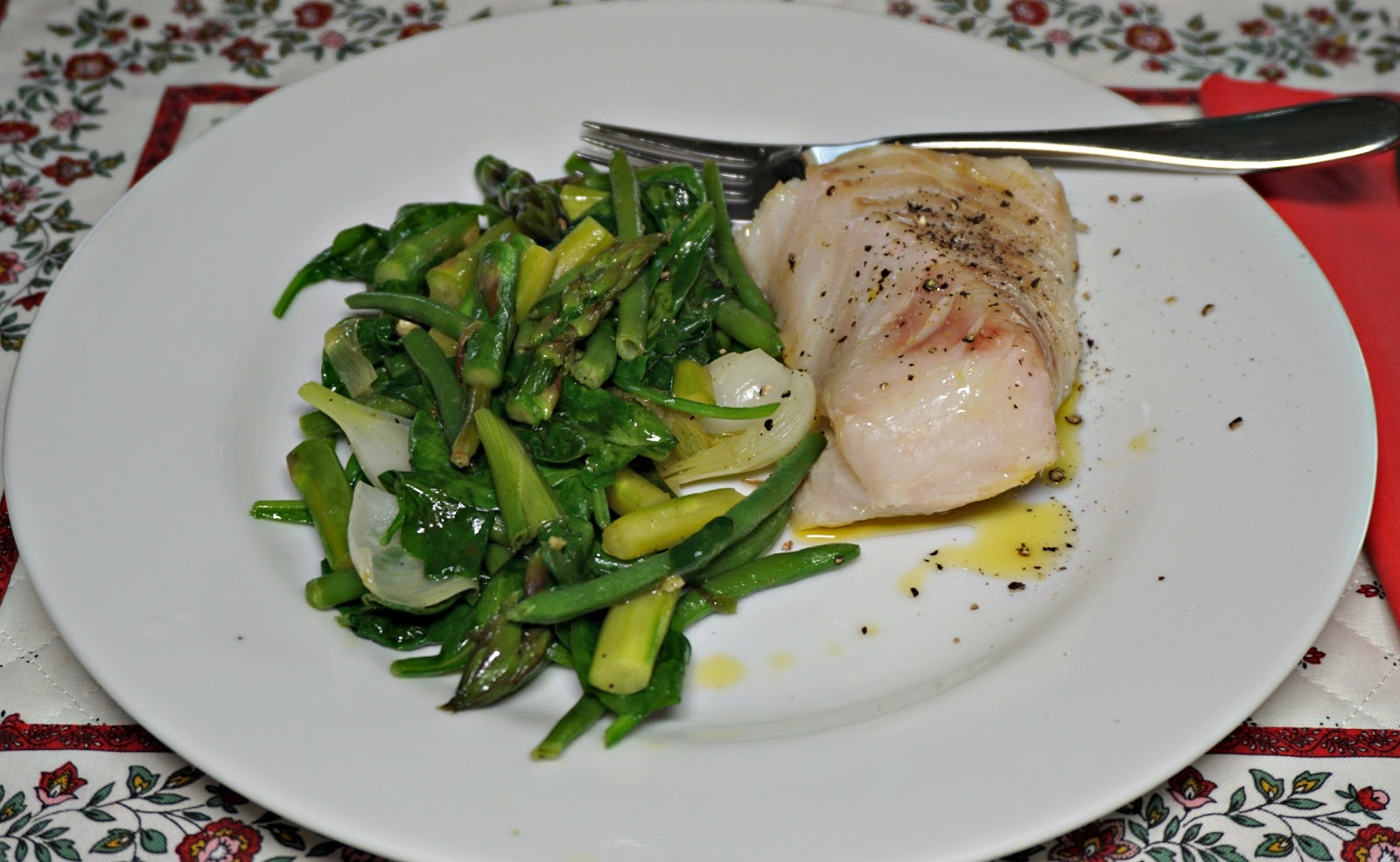 Mixed greens with cod