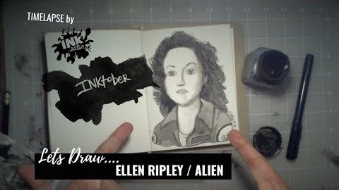 We Drew Ellen Ripley From Alien-Inktober 2018
